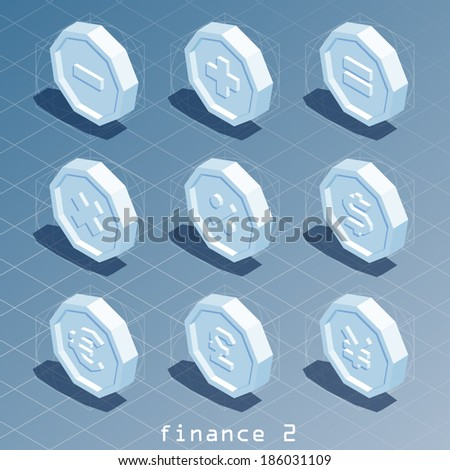 polygonal isometric finance icon set 2 - stock vector