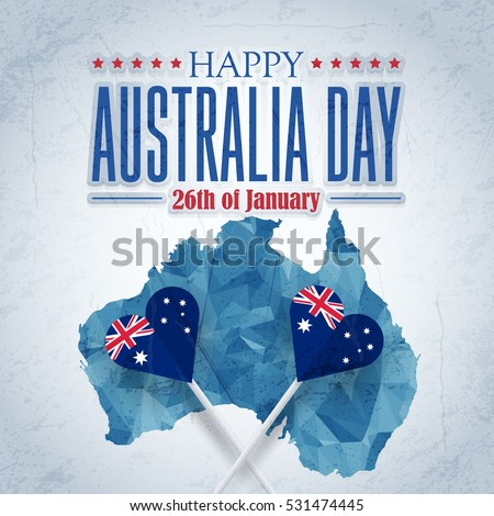 Polygonal Map, 26 January Happy Australia Day. Retro Grunge Background and Flag Illustration and Vector Elements National Concept Greeting Card, Poster or Web Banner Design