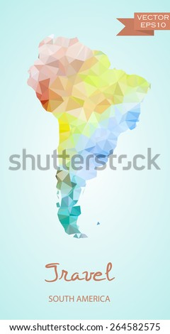 Polygonal map of Latin America isolated on background. Vector version - stock vector
