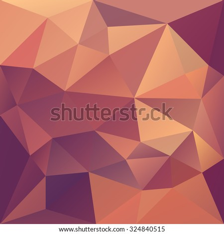 Polygonal mosaic abstract geometry background landscape in red, pink, orange and yellow colors. Used for creative design templates