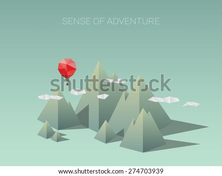Polygonal mountain range with red balloon. Modern low poly design concept for traveling and adventure. Eps10 vector illustration. - stock vector