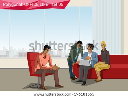 Polygonal office life creative vector illustration. Business meeting. Brainstorming.  Polygon people collection. - stock vector