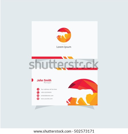 Polygonal Panther logo, low poly tiger, colorful animal vector design, animal business card.