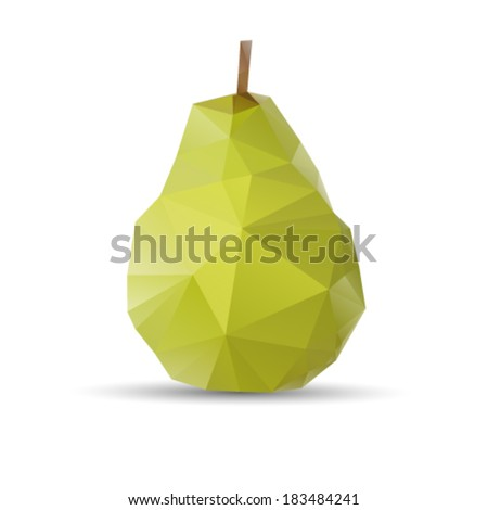 Polygonal pear fruit. Abstract geometric origami style. Vector EPS 10 illustration. - stock vector