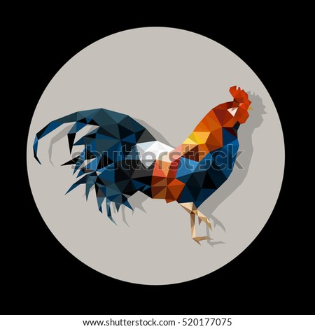 Polygonal Rooster - icon with shadow. Chinese New Year 2017. Polygonal style for  Christmas web design. Vector abstract illustration