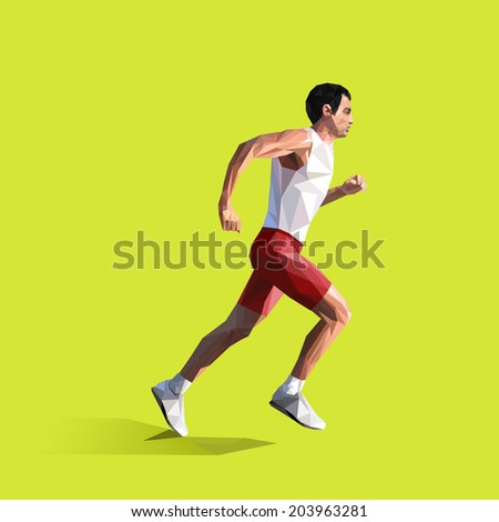 polygonal running man. Vector geometric illustration - stock vector