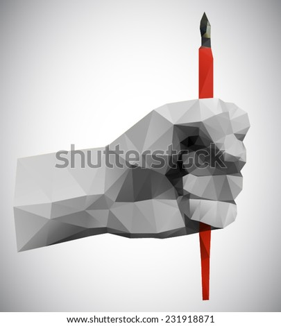 Polygonal style clenched fist holding a pen on a light background - stock vector