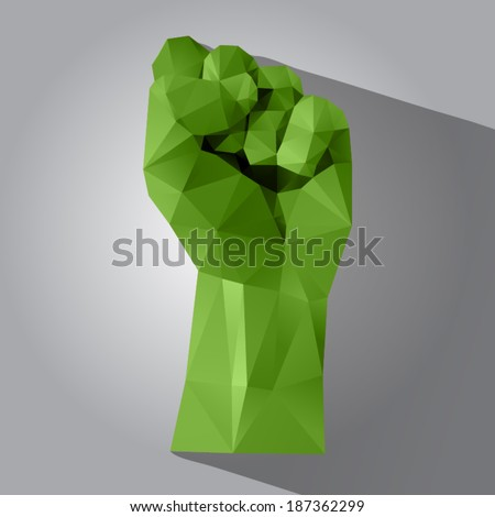 Polygonal style clenched fist on a light background - stock vector
