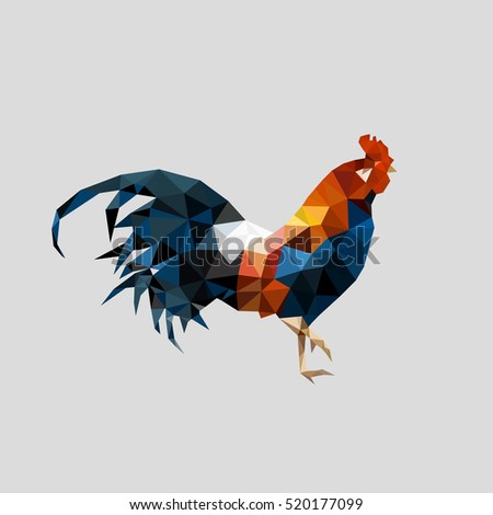 Polygonal style Rooster of geometric shapes. Chinese New Year 2017. Polygonal design for  Christmas calendar, postcards, flyers. Vector abstract illustration