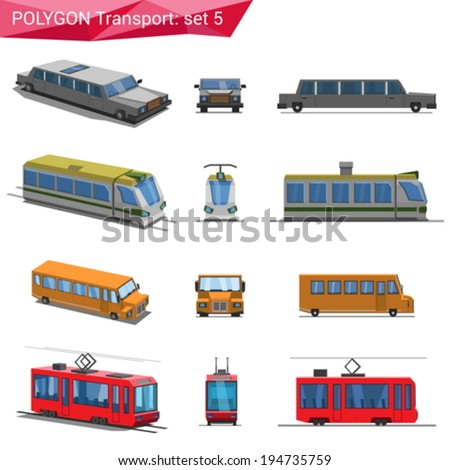 Polygonal style vehicles vector icon set. Limousine, train, school bus, tram.  Polygon transport collection. - stock vector