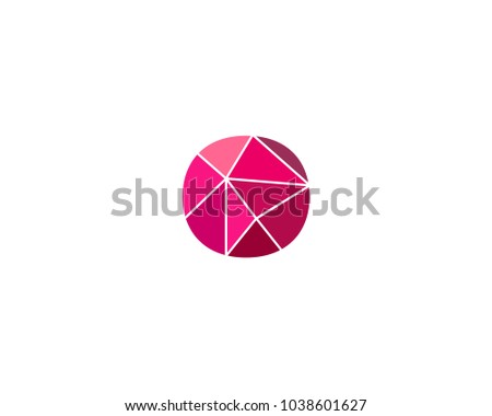 Polygonal Trend Letter O Logotype Color Stock Vector 1038601627