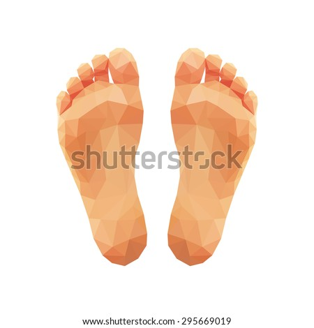 polygonal two feet low poly right and left - stock vector