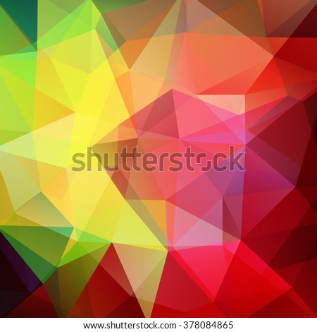 Polygonal vector background. Can be used in cover design, book design, website background. Vector illustration. Red, yellow, green colors.  - stock vector