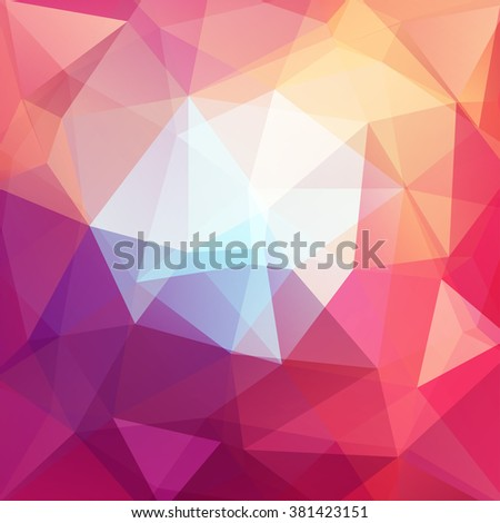Polygonal vector background. Can be used in cover design, book design, website background. Vector illustration. Pink, white, yellow, orange colors.  - stock vector