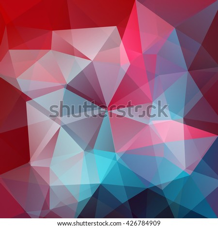 Polygonal vector background. Can be used in cover design, book design, website background. Vector illustration. Red, blue, pink colors.  - stock vector