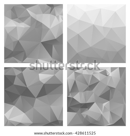 Polygonal vector backgrounds. Set of colored vector patterns in geometric style. Can be used for covers, brochures, digital wallpapers and flyer backgrounds. - stock vector