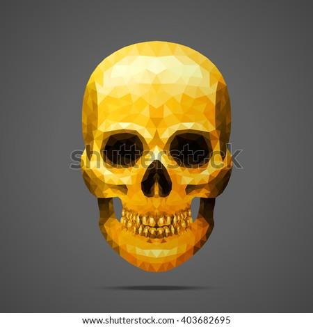 Polygonal vector gold skull. Side light source. Low poly design. - stock vector