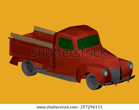 Polygonal vector illustration of a vintage, red truck. Polygon. 3D. EPS 8. - stock vector