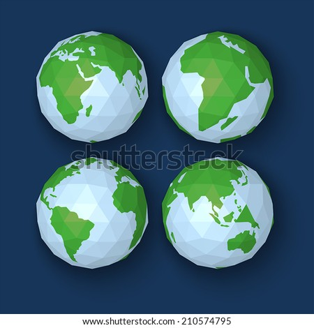 Polygonal Vector illustration of world planet  in origami style - stock vector