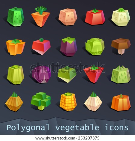 Polygonal vegetable icons - stock vector