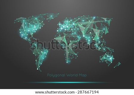 Polygonal world map global travel geography vectores en stock polygonal world map global travel geography and connect continent and planet vector illustration gumiabroncs Choice Image