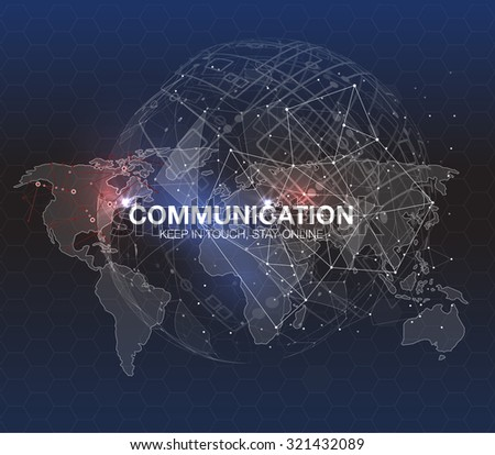 Polygonal world map. Global travel geography and connect, continent and planet, vector illustration. Communication concept in HUD style. For infographic elements, futuristic user interface HUD - stock vector