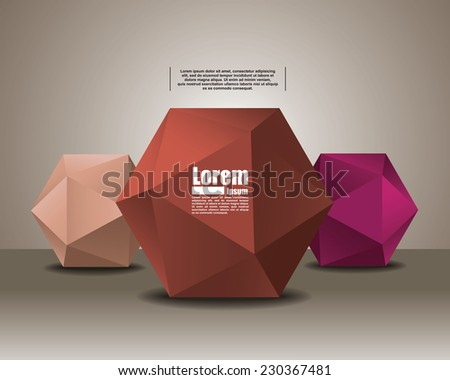 polyhedron for graphic design. banner for text - stock vector