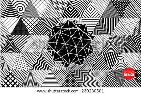 polyhedron on decorative triangles background - stock vector