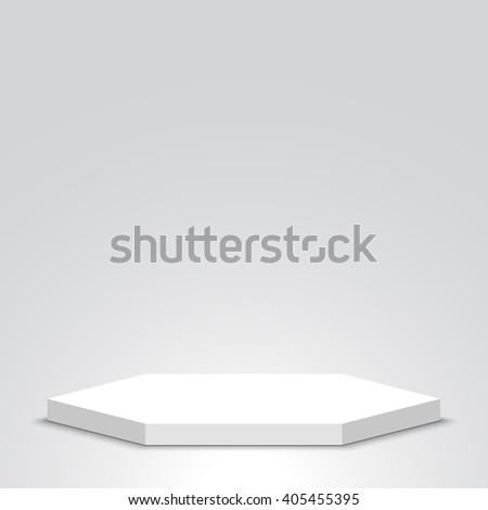 Polyhedron. White podium. Pedestal. Scene. 3D. Vector illustration. - stock vector