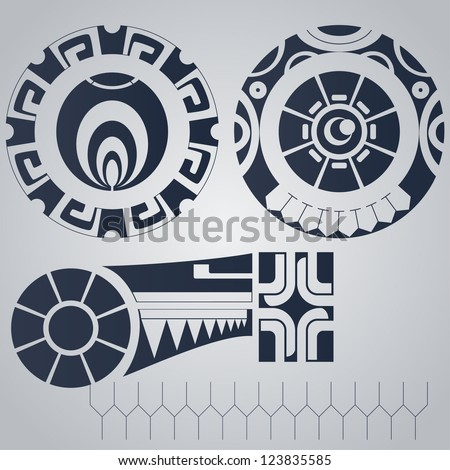 Polynesian elements tattoo styled - stock vector