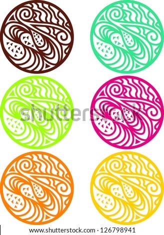 Polynesian Maori Stamp Vector Illustration - stock vector