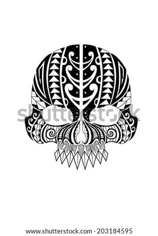 Polynesian Skull Design - stock vector