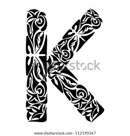 Polynesian Tattoo Initials Tribal Capital Letter K Vector Illustration For Coloring Page Tattoos