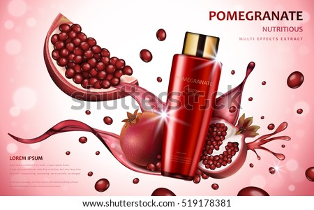 Pomegranate cream ads, attractive fruit ingredients with cosmetic package and splash effects, 3d illustration