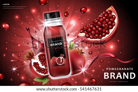 Pomegranate juice ads, delicious bottle juice and fruit with splashing liquid, 3d illustration