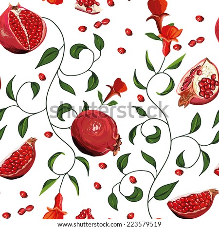 Pomegranate seamless vector background - stock vector