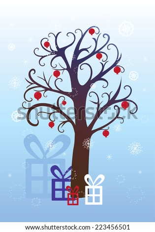 Pomegranate tree, Christmas, winter background  - stock vector