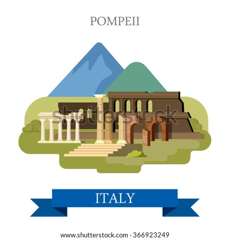 Pompeii Ruins in Italy. Flat cartoon style historic sight showplace point of interest web site vector illustration. Italian heritage. World countries cities vacation travel sightseeing collection. - stock vector