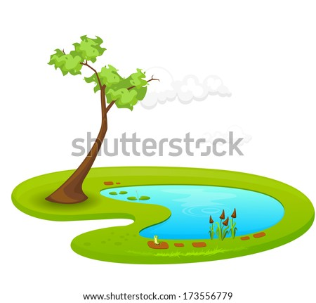 Pond - Illustration - stock vector