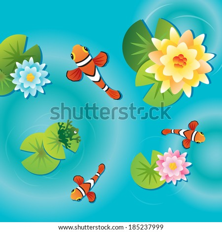 pond with clown fishes water lilies and little frog - stock vector