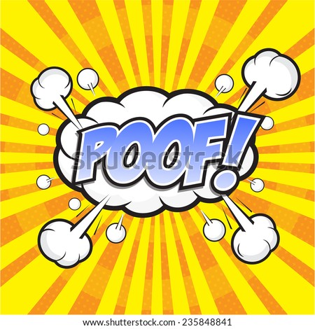 POOF! wording sound effect set design for comic background, comic strip - stock vector