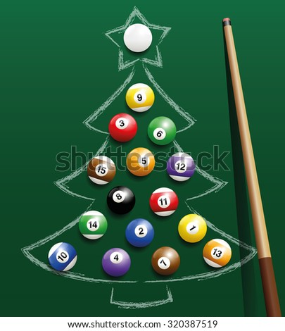 Pool billiard balls representing Christmas balls on a chalk drawing. Three-dimensional isolated vector illustration on green gradient background. - stock vector