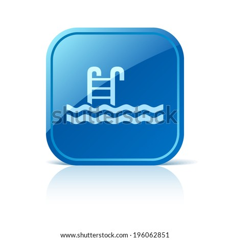 Pool icon on blue web button - stock vector