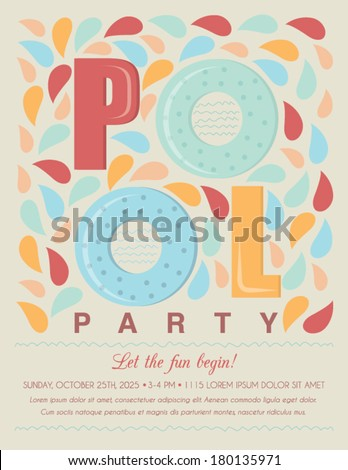 Pool Beach Party Invitation Template Card Stock Vector - Party invitation template: swimming party invitation template