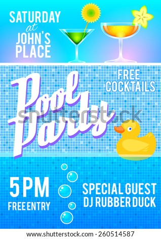 Pool Party Flyer Template Featuring Cocktails Stock Vector