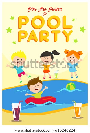 Pool Party Invitation Kids Summertime Party Stock Vector 615246224