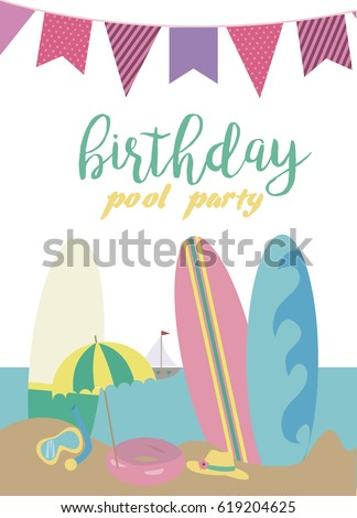 Pool party invitation template card summer stock vector 619204598 pool party invitation template card summer beach party vector illustration stopboris Gallery
