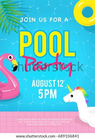 Pool party invitation vector illustration swimming stock photo pool party invitation vector illustration swimming pool with flamingo pool float unicorn pool float stopboris Images