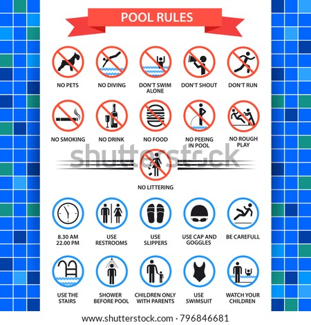 Pool Rules Poster Swimming Pool Safety Stock Vector 796846681 Shutterstock