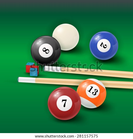 Pool table background with white and black  pool ball, chalk and cue. EPS 10